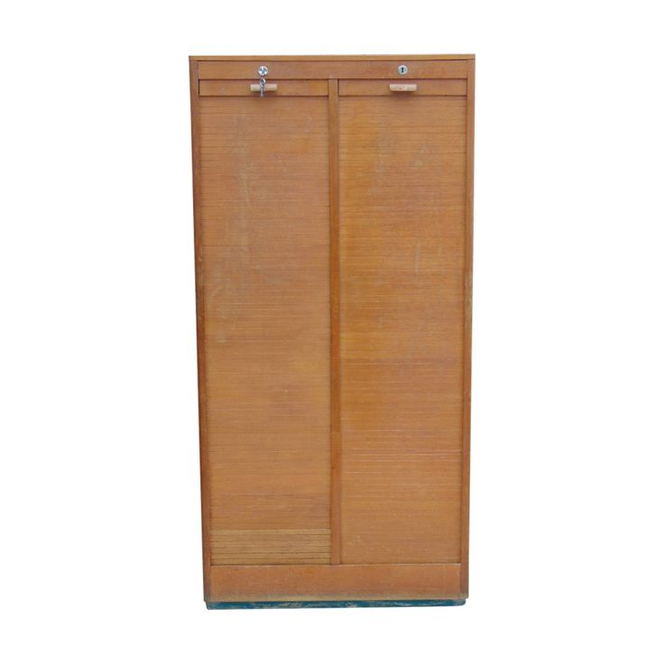1950s French Oak Double Tambour Front Filing Cabinet