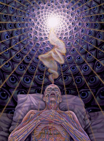 I'd also really love to have one of Alex Grey's paintings on me. This is one of the many paintings I'd chose from.