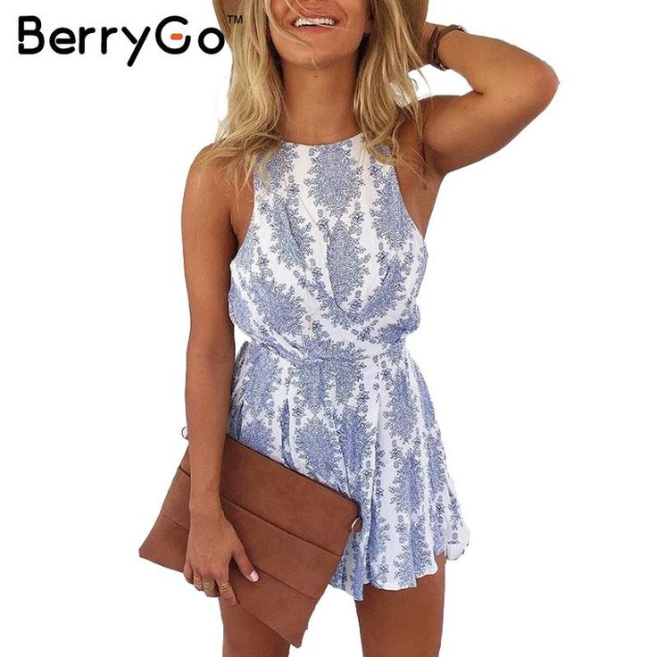 BerryGo 2016 New strap backless blue floral print jumpsuit romper Casual summer style playsuit Women sexy bow beach overalls
