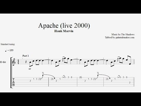The Shadows - Apache instrumental guitar tabs (easy) - pdf guitar sheet music download - guitar pro tab video