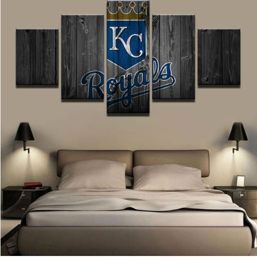Printed on canvas wall picture modern decorative canvas art prints 5 pieces baseball sports modern frames for paintings decor description name kansas city