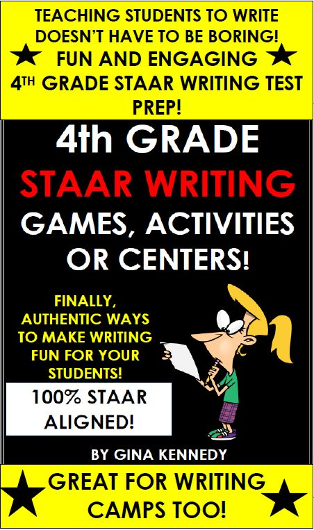 4TH GRADE STAAR WRITING GAMES, ACTIVITIES & MORE! Finally, a fun way to prepare students for the 4th Grade Writing STAAR test without endless practice prompts. 100% ALIGNED to the 4th Grade STAAR WRITING TEKS! From storytelling improv to writing the perfect introductory paragraph, these activities and games will bring new life to your writing instruction! Also excellent for writing camps!