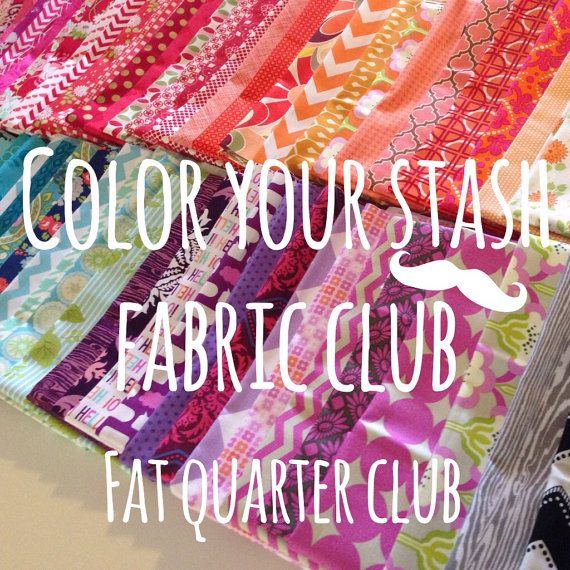 Color your stash fabric club membership with free Aurifil thread- Join today-12 fat quarters per month on Etsy, $32.00