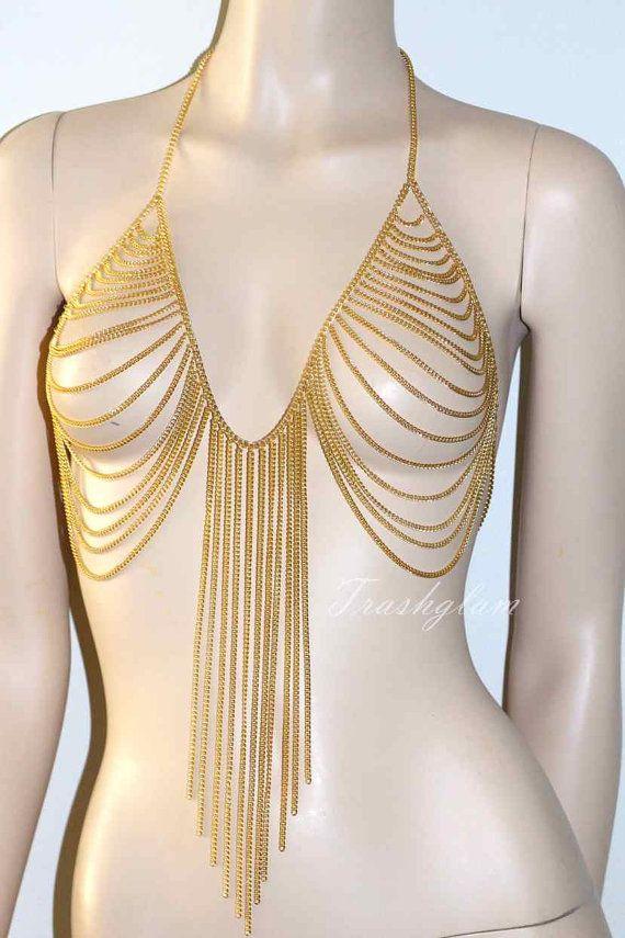 Trashglam gold bra chain harness BIKINI chain von HausofTrashglam