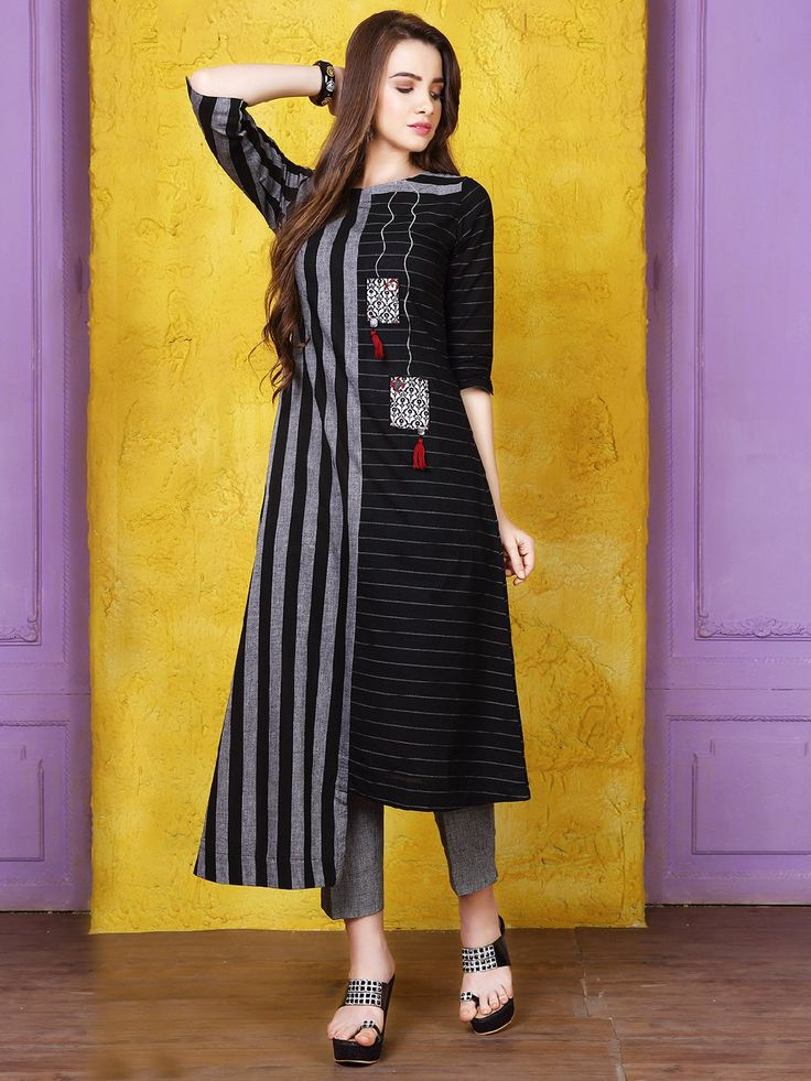 Shop Black grey silk stripe pattern kurti online from G3fashion India. Brand - G3, Product code - G3-WKU11037, Price - 2075, Color - Black, Fabric - Silk,
