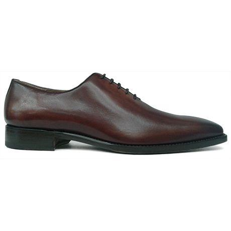 Zapato oxford enterizo o wholecut en color cuero difuminado de Cordwainer vista lateral