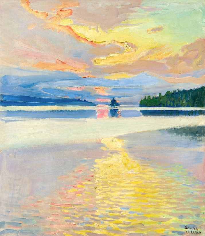 Akseli Gallen-Kallela - Finnish - 1865-1931 - Sunset Over Lake Ruovesi