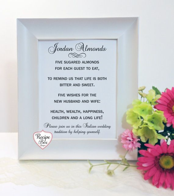 Jordon Almonds Jordan Almond Favor Sign Jordan Almond by RecipeBox