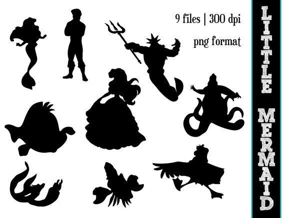 The Little Mermaid Silhouettes // Disney Princess Ariel Silhouette // Disney Clipart // Little Mermaid Silhouettes on Etsy, $6.00