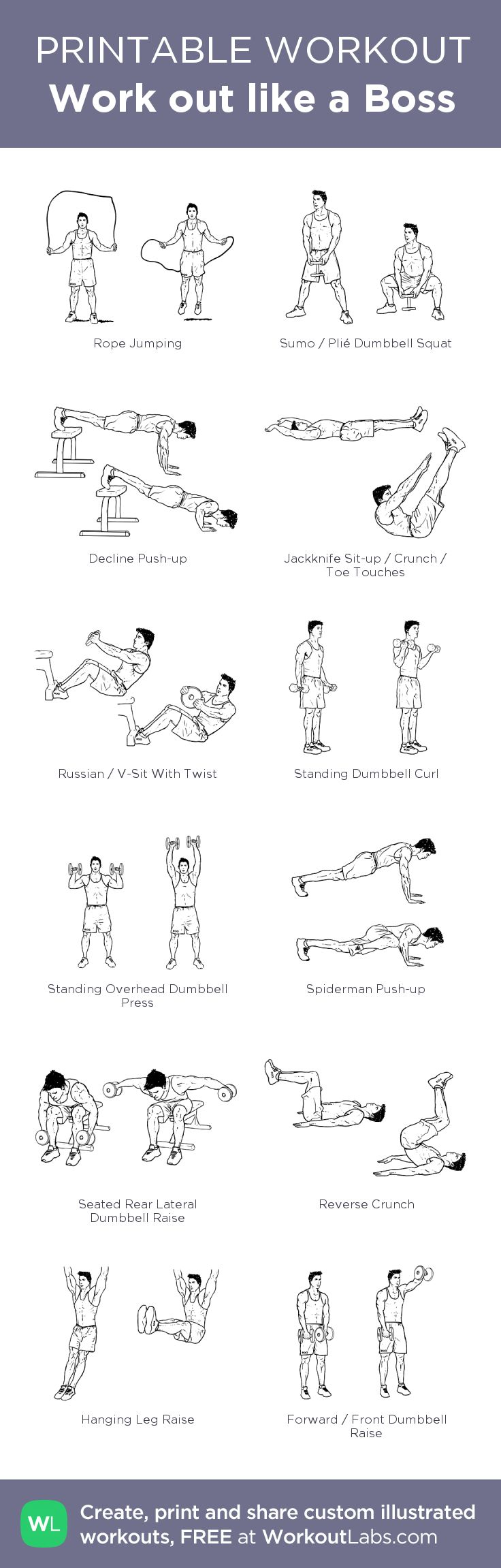 Work out like a Boss – my custom workout created at WorkoutLabs.com • Click through to download as printable PDF! #customworkout