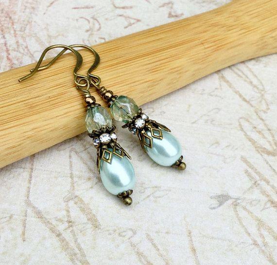 Ohrringe Ohrringe grün Minze grüne Ohrringe leichte blaue
