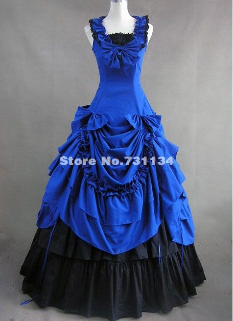 Aliexpress.com : Buy Elegant  Blue and Black Gothic Cotton Victorian Dress from Reliable Blue Gothic Lolita Dress suppliers on Lolita Fashion Online Shop $161.76