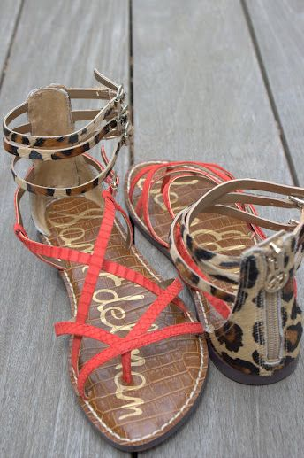 My new coral and leopard Sam Edleman Sandals from Kristina Richards, Newport!!! LOVE!