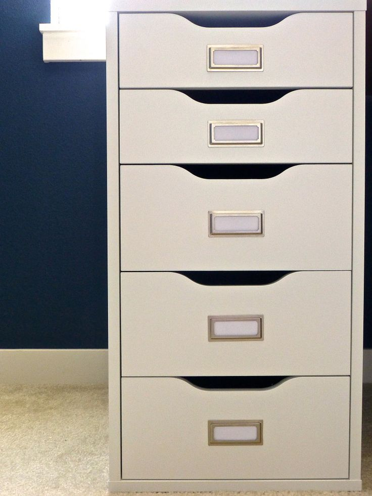 Add bookplates to Ikea's Alex drawers
