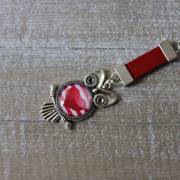 Długi czerwony brelok sowa walentynkowa