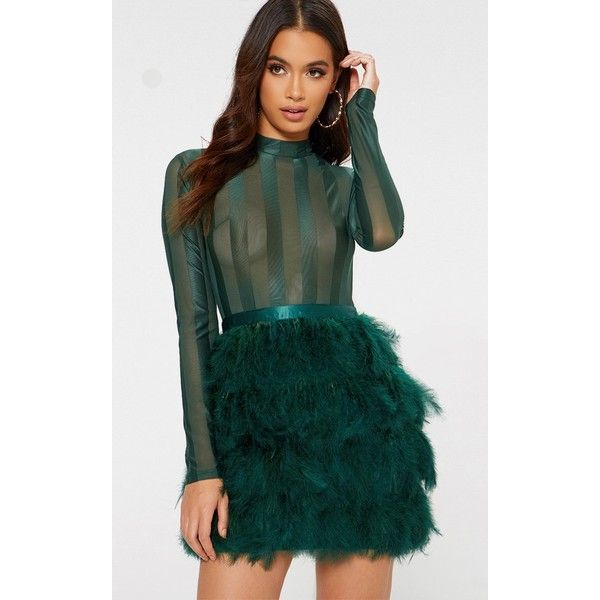 Emerald Green Feather Skirt Bodycon Dress ($80) ❤ liked on Polyvore featuring dresses, emerald green, fitted cocktail dresses, green dress, sheer long sleeve dress, sheer bodycon dress and green cocktail dress