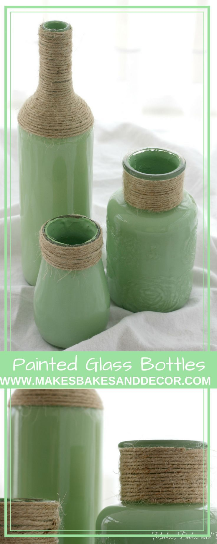 painted glass bottles from Makes, Bakes and Decor. Use this technique to paint the inside of glass bottles and jars to turn them into decorative vases.