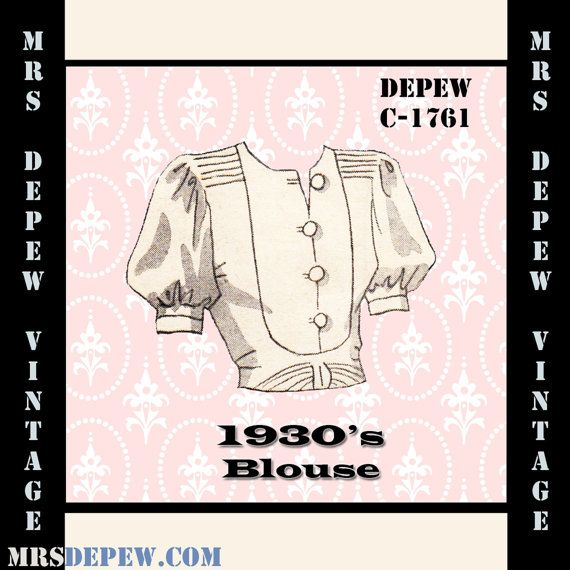 Vintage Sewing Pattern 1930's Blouse in Any Size by Mrs. Depew Vintage - Available for Instant Download.