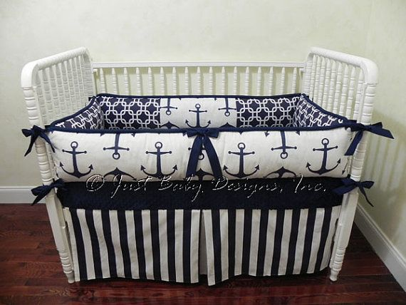 Custom Baby Bedding Set Harbor   Navy Anchors by BabyBeddingbyJBD, $239.00