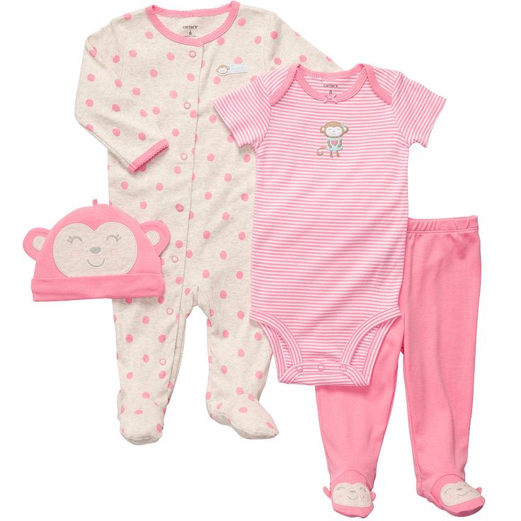 "Carter's Girls Monkey 4 Piece Layette Set with Bodysuit, Footed Pant, Sleep and Play, and Cap - Carters - Babies ""R"" Us"