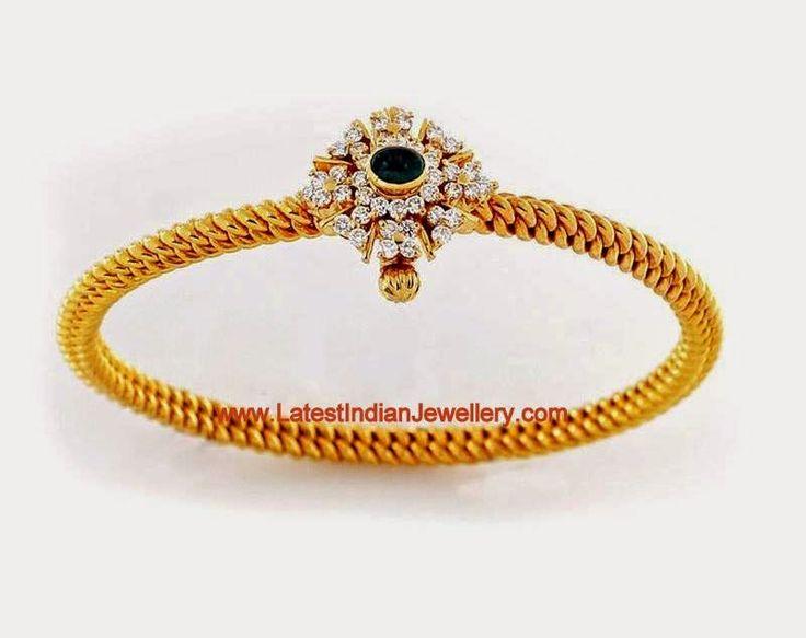 Traditional Twisted Design Gold Bangle, Kolusu Kaappu round, solid, inflexible, with diamond mugappu, screw open, snug fit around wrist