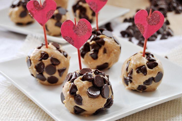 Chocolate Chip Peanut Butter Cheesecake Bites, Vegan and Gluten-Free- easy to make valentine's day dessert. Peanut butter, agave, vegan cream cheese, vanilla extract, chocolate chips.