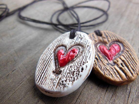 Handmade Essential Oil Diffuser Necklace, Heart Carved into Tree Texture Ceramic Pendant, This One's Mine Ceramic Design
