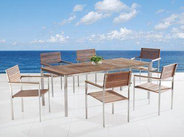 Table de jardin acier inox - plateau teck 200 cm et 6 chaises ...