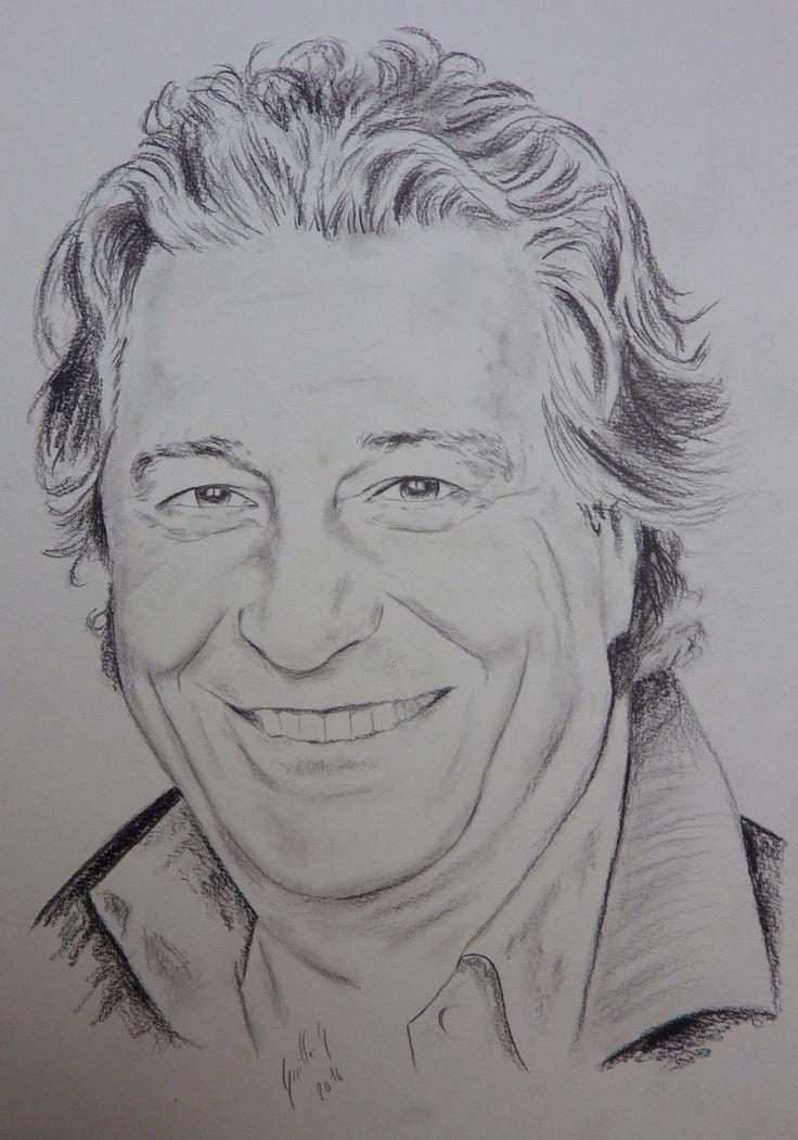 Christian Clavier. Portrait au fusain