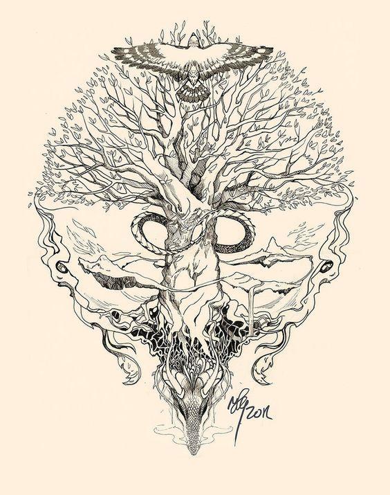 die 25 besten ideen zu yggdrasil tattoo auf pinterest keltische baum tattoos wikinger. Black Bedroom Furniture Sets. Home Design Ideas
