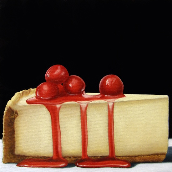 "Cherry Cheesecake - Jelaine Faunce   10"" x 10""    Oil on Canvas"