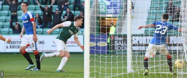 Hibernian reduced the deficit at the top of the Scottish Championship to five points after victory over Rangers in a pulsating match at Easter Road. Jason Cummings curled in a superb goal for Hibs in the 11th minute. Hibs' Mark Oxley saved from James Tavernier as Rangers rallied but he was helpless when Darren McGregor deflected in Lee Wallace's shot.  The defeat ends Rangers' 100% win record in the Championship