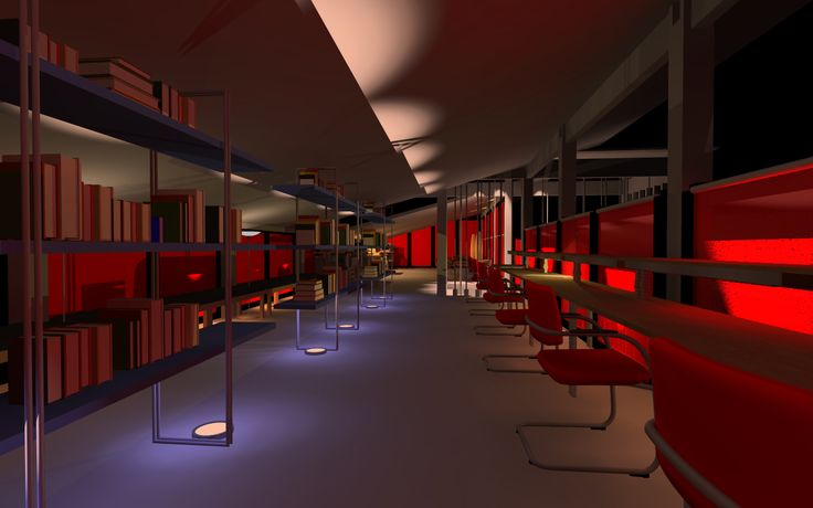 Library 3D with tables, chairs, shelves lighting effect