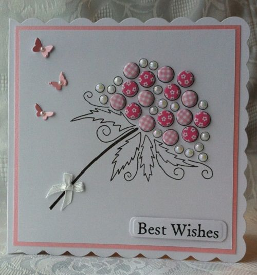 Bubble Bloom 'Clarissa' hand stamped and decorated with Card Candi and Pearls