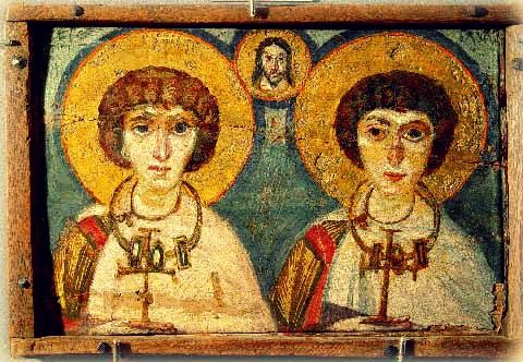 Sts. Sergius and Bacchus, 6th or 7th century encaustic icon from Saint Catherine's Monastery, Egypt. Now in Kiev, Ukraine, at The Art Museum named after Bogdan and Varvara Khanenko (Kiev Museum of Western and Oriental Arts)