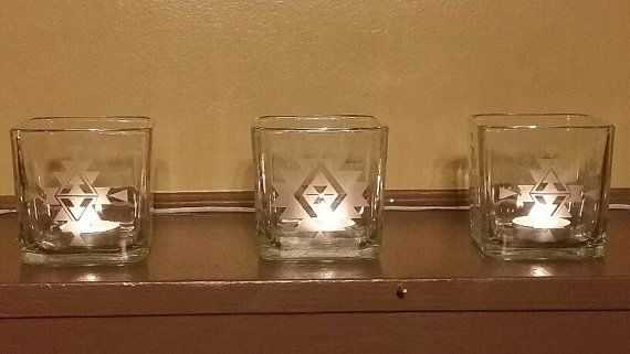 Candleholders Etched Glassware Southwestern by CaprisCreationsShop