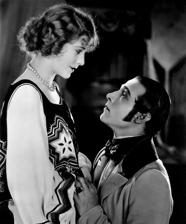 Rudolph Valentino and Vilma Banky on the set of The Eagle, 1925.
