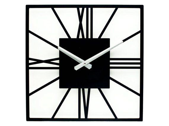 Wall Clock New York Black Unique Clock Square Wall Clock Etsy Black Wall Clock Unique Clocks Minimalist Clocks
