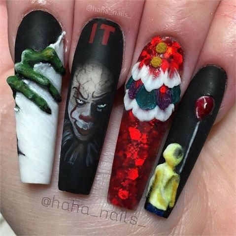 Creepy 'IT' Nail Art #acrylicnailart | Halloween nail ...