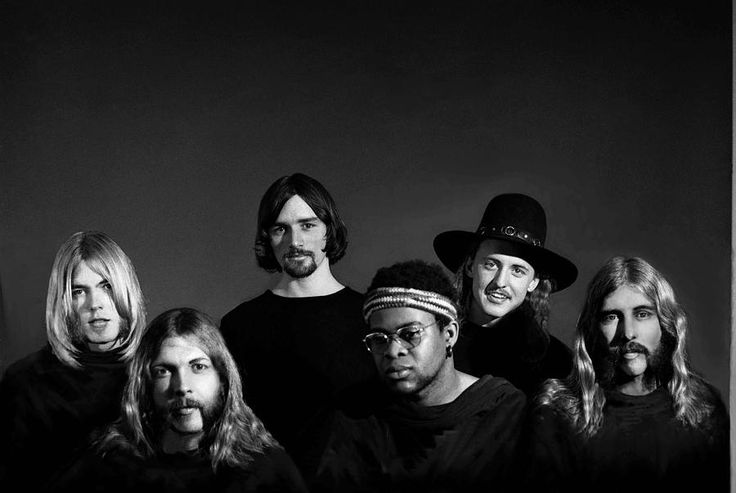 """The only studio portrait of the original Allman Brothers Band, Macon, Georgia 1970 -- from the """"Idlewild South"""" album cover session, by Orlando photographer Jimm Roberts."""