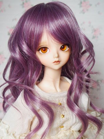 BJD Girl Wigs Purple Curly Hair for SD Size Ball-jointed Doll