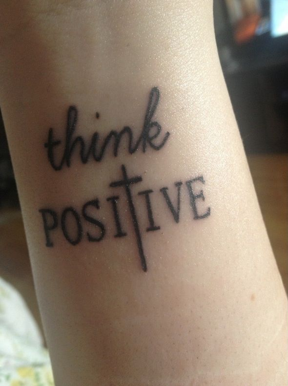 Love this small meaningful tattoo Think Positive