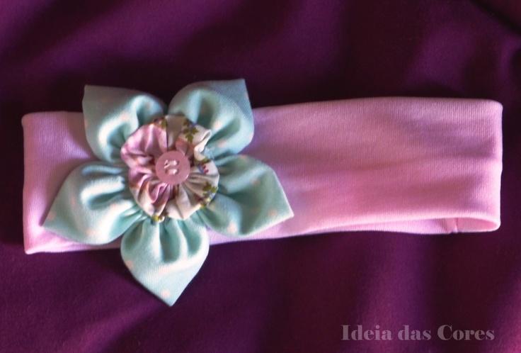 pink headband with flower tissue/ fita para cabelo com aplicação de flor em tecido