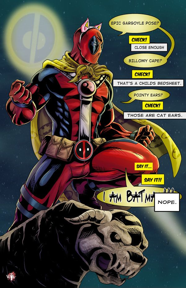 Deadpool... I love the multiple personalities in different bubbles