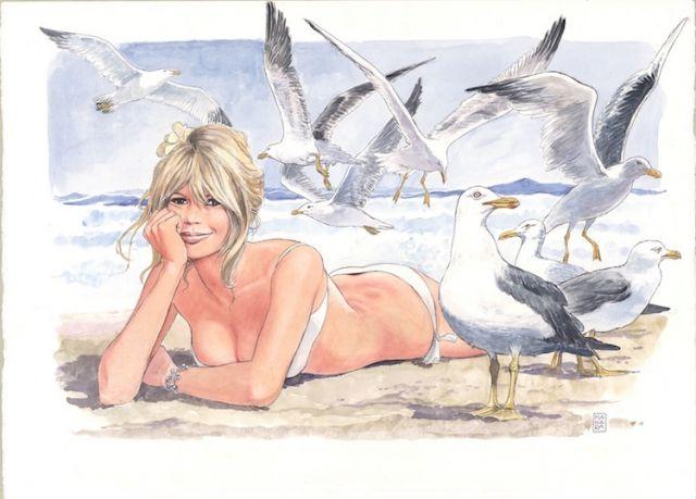 """Milo Manara """"Brigitte Bardot"""" uno dei 25 acquerelli approvati dalla stessa…"""