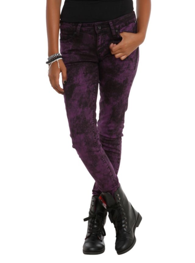 Skinny jeans from LOVEsick with a purple acid wash.
