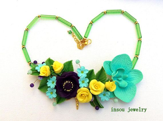 Flower Necklace Statement Necklace Floral Jewelry Handmade