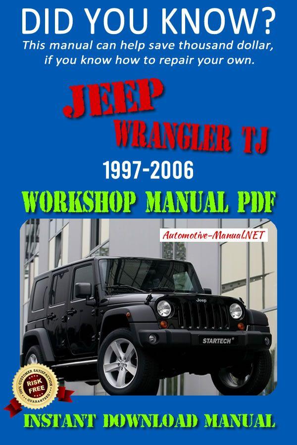 Download Jeep Wrangler Tj 1997 2006 Workshop Manual Pdf Jeep Wrangler Tj Jeep Wrangler Jeep