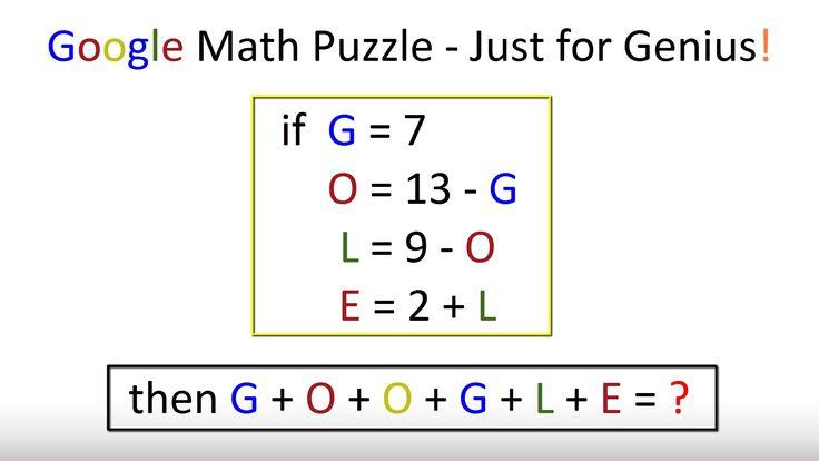 Google Math Puzzle  - Just for Genius