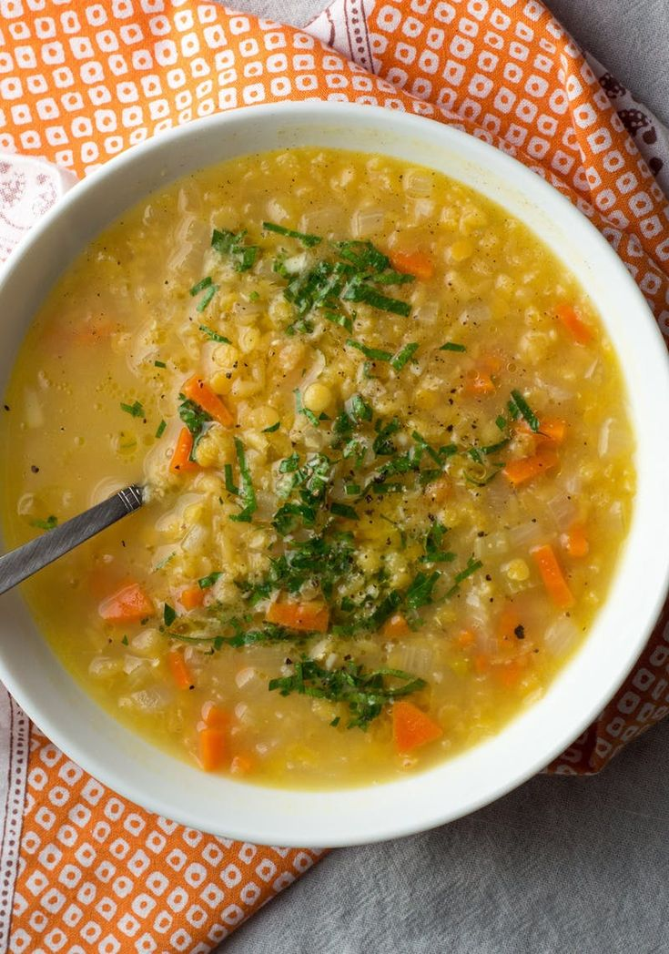 Recipe: Red Lentil Soup | Kitchn Perfect with the addition of 2  tsp cumin and 1/2 tsp turmeric before adding vegetable broth. Also added a spoonful of plain yogurt when serving...you My!
